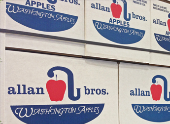 Apple and cherry exports packaging for Allan Brothers' many international fruit importers.