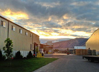 An Eastern Washington sunset over the Allan Brothers fruit packing facilities.
