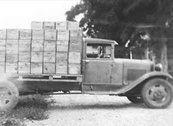 One of the first cherry packing company trucks owned by the Allan Brothers family.  Photograph taken in 1934.