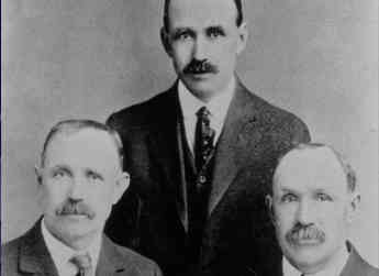 The family's first generation of the Allan Brothers fruit packing company: Samuel, William, and Thomas.  Photograph taken in 1919.