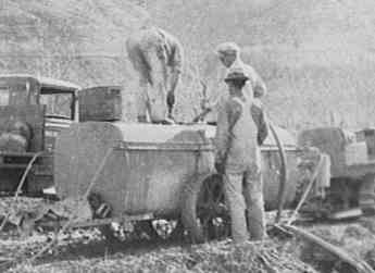 The Allan Brothers work to provide water for the sprayer.  Photograph taken in 1934 in Naches, WA.