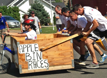 Allan Brothers competes in the annual Apple Bin Race in Naches, WA.