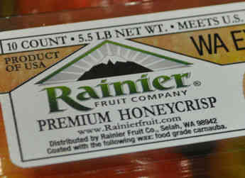 Premium honeycrisp apples packaged for the Rainier Fruit Company.