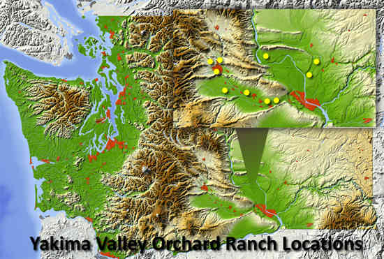 Yakima Valley Orchards ranch locations.